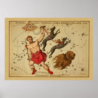 Boötes - Vintage Astronomical Star Chart Image Posters