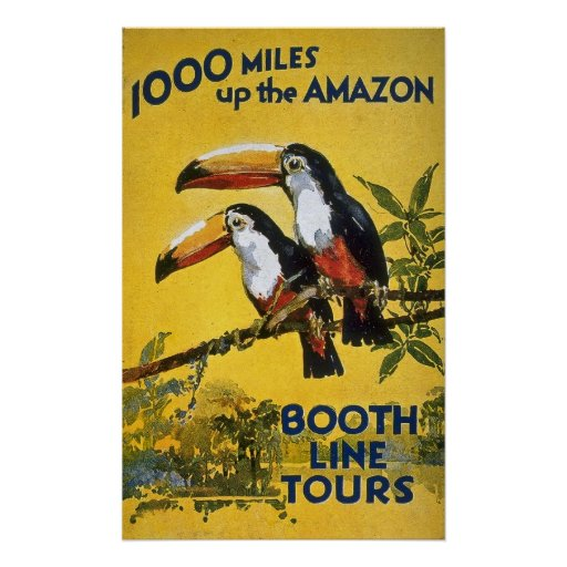 Booth Line Tours 1000 Miles Up the Amazon Vintage Poster ...