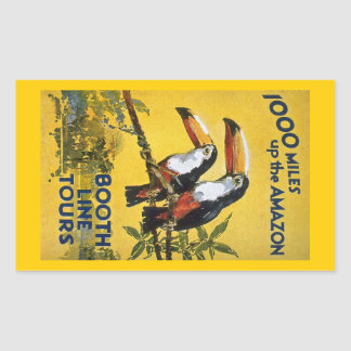 Booth Line Tours 1,000 Miles Up the Amazon Macaws Rectangle Stickers