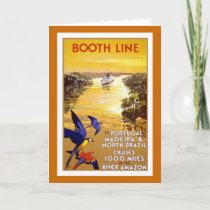 """ Booth Line"" Vintage Travel Poster Card"