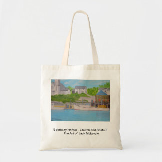 Boothbay Harbor - Church and boats Tote Bag