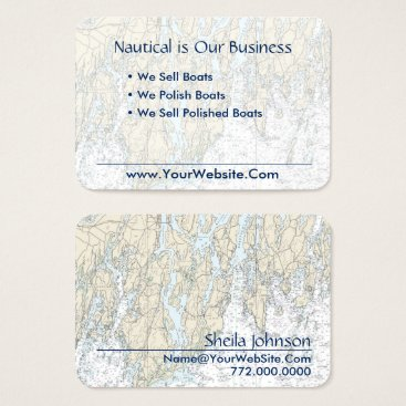 Beach Themed Boothbay Harbor Maine Nautical Chart Clean Fresh Business Card