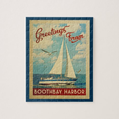 Boothbay Harbor Sailboat Vintage Travel Maine Jigsaw Puzzle