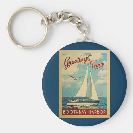 Boothbay Harbor Sailboat Vintage Travel Maine Keychain
