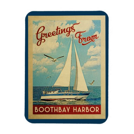 Boothbay Harbor Sailboat Vintage Travel Maine Magnet