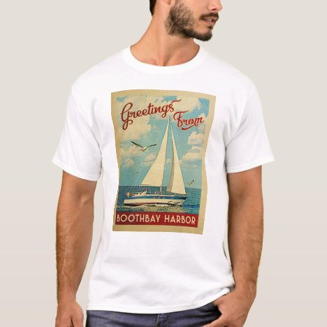 Boothbay Harbor Sailboat Vintage Travel Maine T-Shirt
