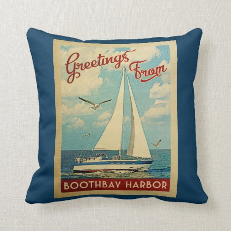 Boothbay Harbor Sailboat Vintage Travel Maine Throw Pillow