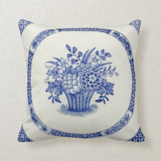 """Booths Blue Basket 16"""" by 16"""" Throw Pillow"""