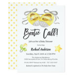 "Cute ""Bootie Call!"" Whimsical Yellow Baby Shower Invitation"