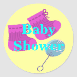Booties And Rattle Baby Shower Classic Round Sticker