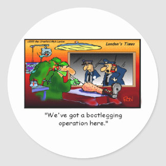 Bootleg Operation Funny Cartoon Tees & Gifts Classic Round Sticker