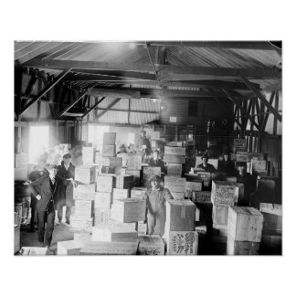 Bootleg Whiskey Warehouse, 1920. Vintage Photo Poster