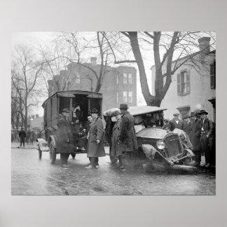 Bootlegger s Wrecked Car 1922 Print