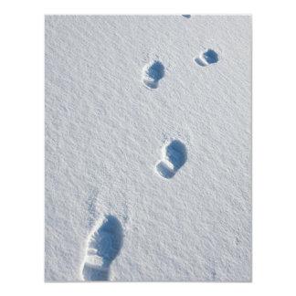 """Bootprints en nieve fresca invitación 4.25"""" x 5.5"""""""