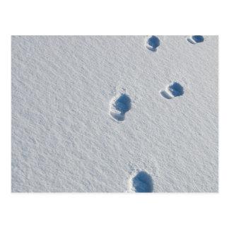 Bootprints en nieve fresca tarjeta postal