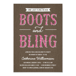 Boots and Bling | Glitter-Look Bachelorette Party 5x7 Paper Invitation Card