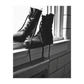 Boots and Bricks Art Photo Canvas Print