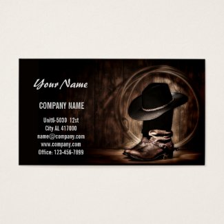 Cowboy business card - cowboy hat and boots