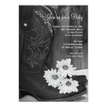 """Boots and Daisies Country General Party Invitation 5"""" X 7"""" Invitation Card"""