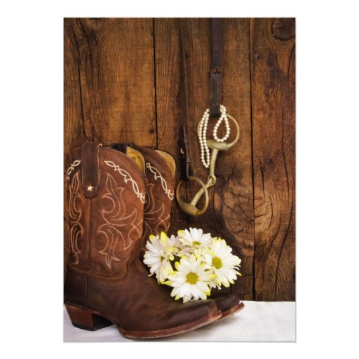 Boots and Horse Bit Country Wedding Save the Date Announcements