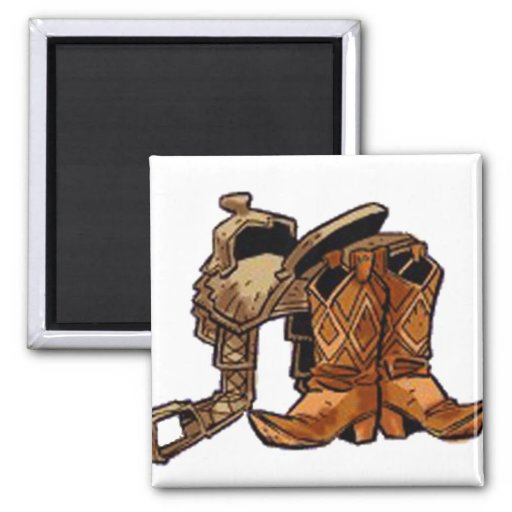 Boots and Saddle 2 Inch Square Magnet