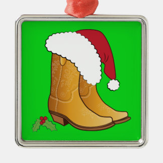 Boots and Santa Hat with Mistletoe Metal Ornament