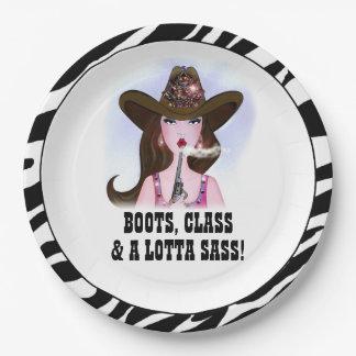 """""""BOOTS, CLASS & A LOTTA SASS!"""" PAPER PLATE"""
