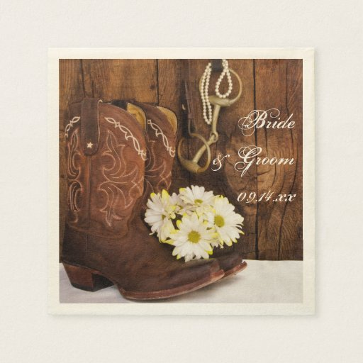 Boots, Daisies and Horse Bit Country Wedding Disposable Napkin