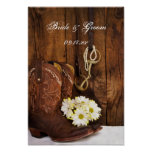 Boots, Daisies and Horse Bit Wedding Poster Print