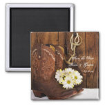 Boots Daisies and Horse Bit Wedding Save the Date 2 Inch Square Magnet