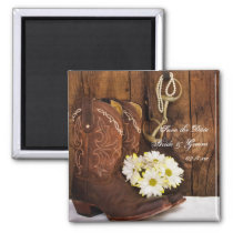 Boots Daisies and Horse Bit Wedding Save the Date Magnet