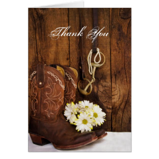 Boots Daisies Horse Bit Bridesmaid Thank You Card