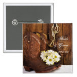 Boots, Daisies Horse Bit Country Wedding Button