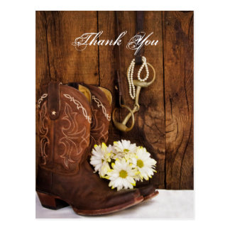 Boots, Daisies Horse Bit Country Wedding Thank You Post Card