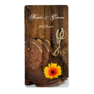 Boots, Daisy and Horse Bit Country Wedding Label Shipping Label
