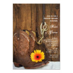 Boots Daisy and Horse Bit Country Wedding Shower 5x7 Paper Invitation Card