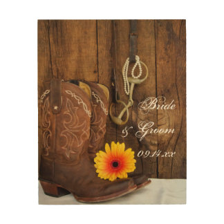 Boots, Daisy and Horse Bit Wedding Wood Canvas