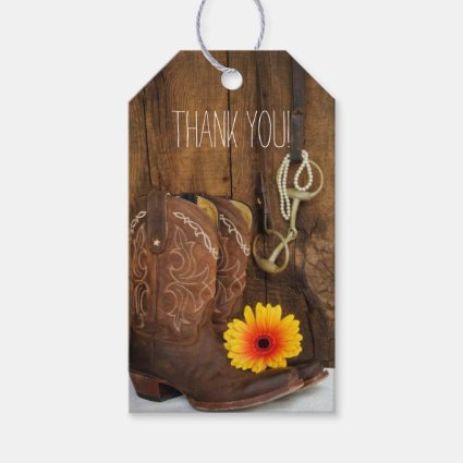 Boots, Daisy Horse Bit Country Wedding Pack of Favor Tags
