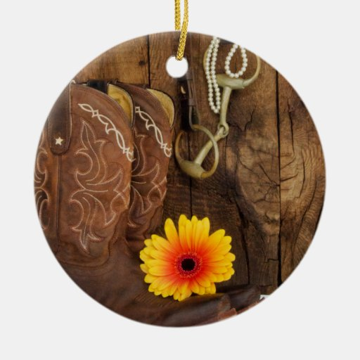 Boots, Daisy Horse Bit Country Wedding Ornament