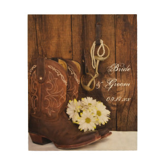 Boots Daisy Horse Bit Country Wedding Wood Canvas