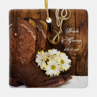 Boots Daisy Horse Bit Wedding Bridesmaid Thank You Ceramic Ornament
