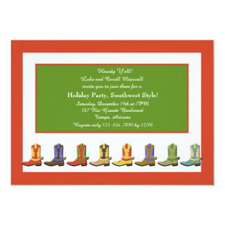 Boots in a Row Holiday Party Invitation