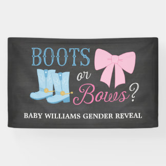 Boots or Bows Gender Reveal Party Baby Shower Banner