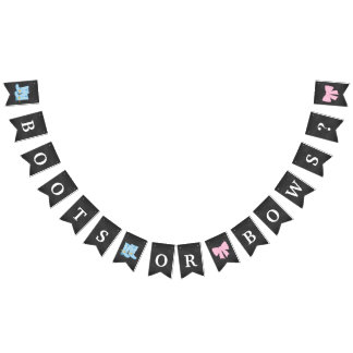 Boots or Bows Gender Reveal Party Baby Shower Bunting Flags