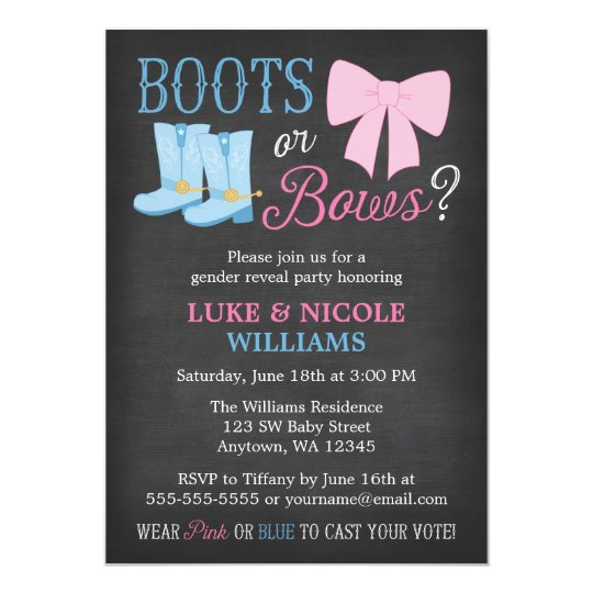 Boots or Bows Gender Reveal Party Baby Shower Card – Gender Reveal Party Invitations