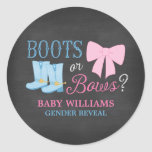 Boots or Bows Gender Reveal Party Baby Shower Classic Round Sticker
