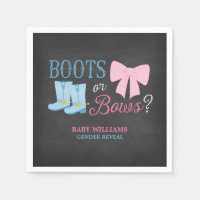 Boots or Bows Gender Reveal Party Baby Shower Paper Napkin