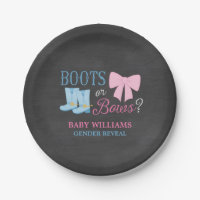 Boots or Bows Gender Reveal Party Baby Shower Paper Plate