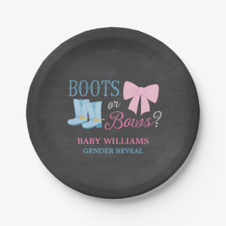 Boots Or Bows Gender Reveal Party Baby Shower Paper Plate at Zazzle