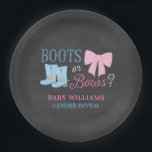 "Boots or Bows Gender Reveal Party Baby Shower Paper Plate<br><div class=""desc"">Cute boots and bows gender reveal party paper plates. A country gender reveal theme featuring a girly pink bow and blue cowboy boots on a chalkboard background.</div>"